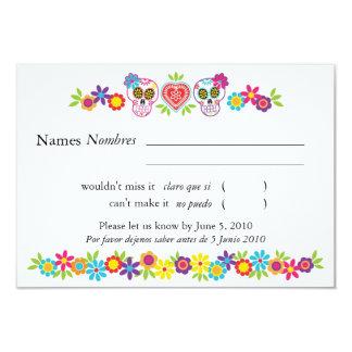 Sockerdöskallar- och blommaOSA kort 8,9 X 12,7 Cm Inbjudningskort