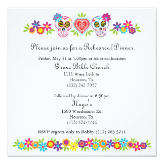 Sockerdöskallar och blommor som gifta sig gula fyrkantigt 13,3 cm inbjudningskort