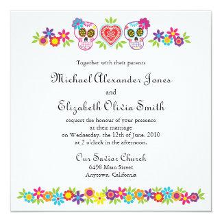 Sockerdöskallar och blommor som gifta sig inbjudan