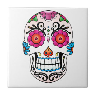 Sockerskalle - day of the dead, tatuering, Mexico Kakelplatta