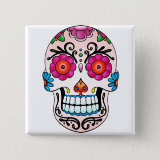 Sockerskalle - day of the dead, tatuering, Mexico Standard Kanpp Fyrkantig 5.1 Cm