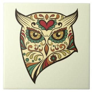 Sockerskalleuggla - tatueringdesign kakelplatta