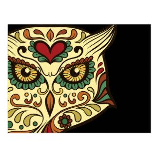 Sockerskalleuggla - tatueringdesign vykort
