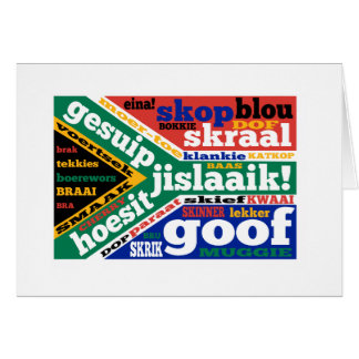 Södra - afrikansk slang och colloquialisms hälsningskort
