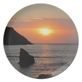 Södra Autunm för Devon hoppCove solnedgång .1 Tallrik