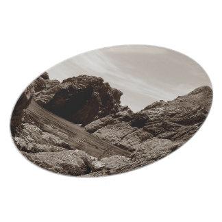Södra Devon Gara sten till Gara sten. Sepia. Tallrik
