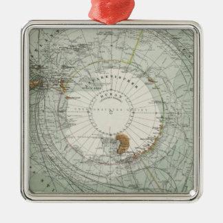 Södra karta för polar region julgransprydnad metall