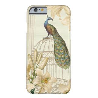 Sofistikerad lilja för vintagepåfågelfågelbur barely there iPhone 6 skal