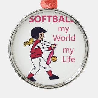 Softball min värld julgransprydnad metall
