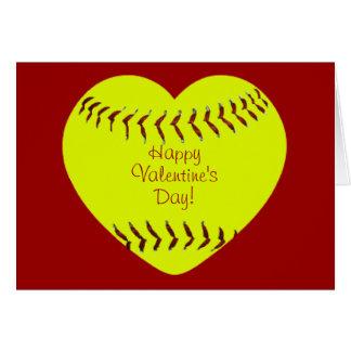 Softballalla hjärtans dagkort hälsningskort
