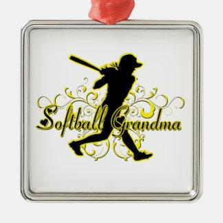 Softballmormor (silhouetten) .png julgransprydnad metall