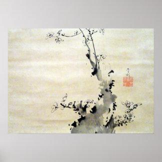 Soga Shohaku gren av att blomstra plommonet Poster