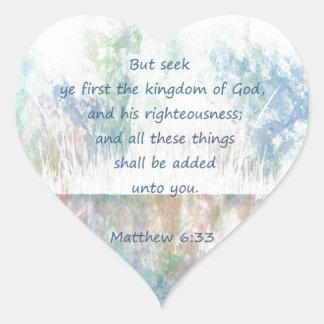 Sökandengud Scripture inspirera Matthew för Hjärtformat Klistermärke