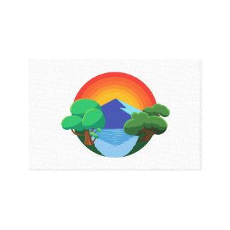 Sol-, berg-, sjö- och träd👍 canvastryck