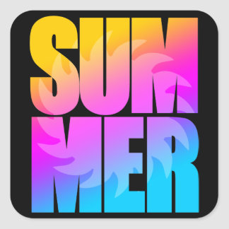 Sol för sommar för Corey tiger80-tal Fyrkantigt Klistermärke