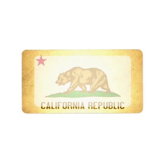 Sol kysst Kalifornien flagga Adressetikett