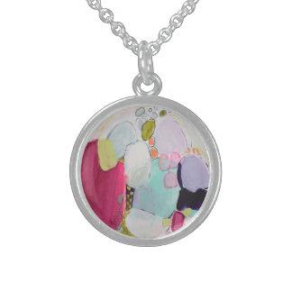 Sol kysst strandexponeringsglas sterling silver halsband