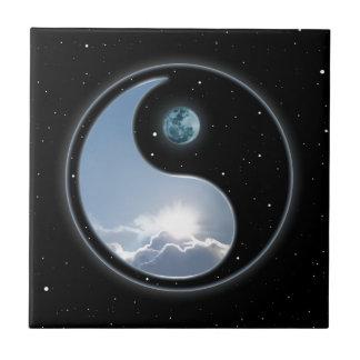 Sol-Måne Yin-Yang Liten Kakelplatta