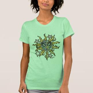 Sol- och måneflickakvinna limefrukt för T Tee Shirts