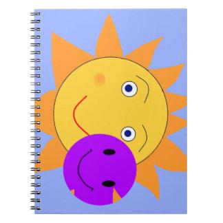 Sol och Smiley Anteckningsbok Med Spiral