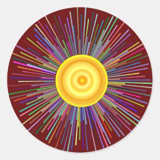 Sol över måneregnbågefractalen runt klistermärke