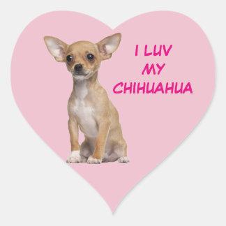 Solbränna- och vitChihuahua Hjärtformat Klistermärke
