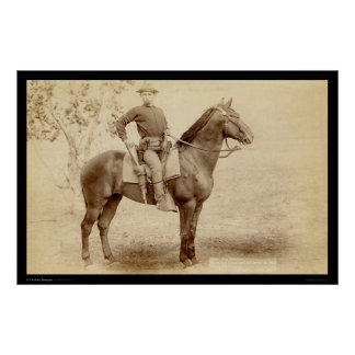 Soldat & häst på lägret Cheyenne SD 1890 Poster