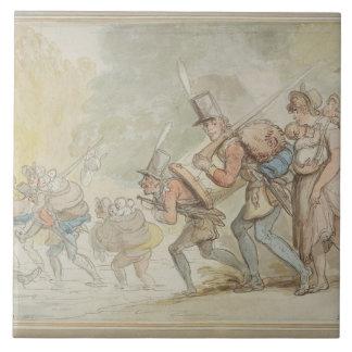 Soldater på en mars, 1805 (skriva & bläck och wate kakelplatta