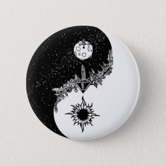 Solen och månen Yin Yang knäppas Standard Knapp Rund 5.7 Cm