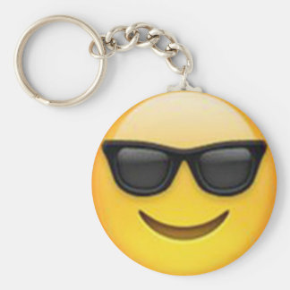 Solglasögon Emoji Keychain Rund Nyckelring