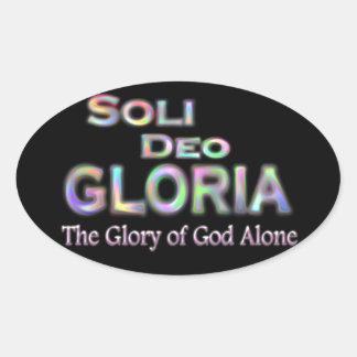 Soli Deo Gloria regnbåge Ovalt Klistermärke