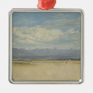 Solig bergig panorama, 1829 julgransprydnad metall