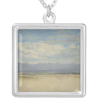 Solig bergig panorama, 1829 silverpläterat halsband