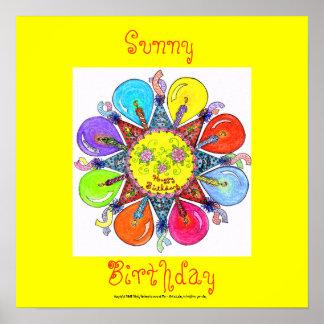Solig födelsedag - affisch (gult) poster