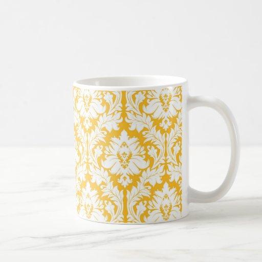 Solig gul damast kaffe koppar
