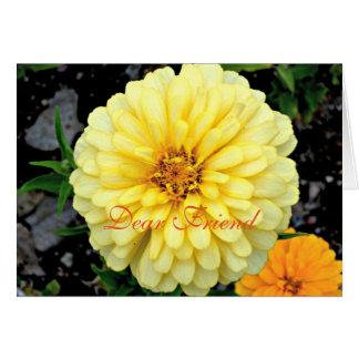 Solig gul Zinniablomma kära Vän Hälsningskort