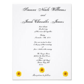 Solig solrosbröllopinbjudan 10,8 x 14 cm inbjudningskort