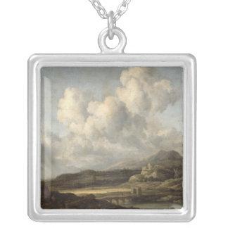 Soligt landskap silverpläterat halsband