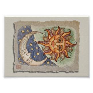 Solmåne & stjärnor fototryck