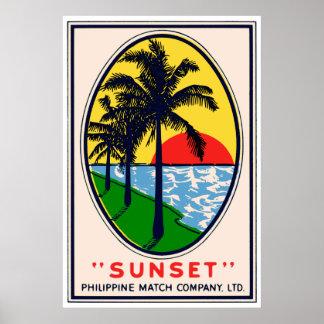 Solnedgång Filippinsk Matcha Företag, ABetikett Poster