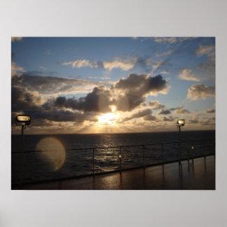 Solnedgång för norrhav poster