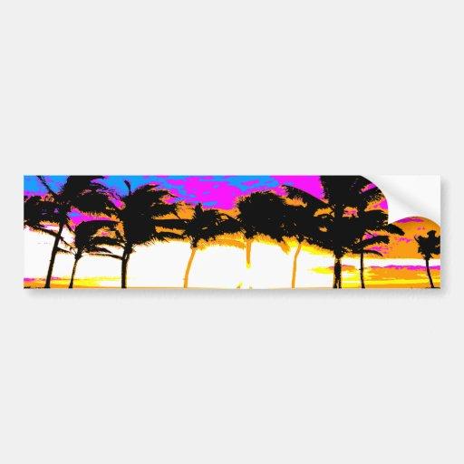 Solnedgång för palmträd för Corey tiger80-tal Bildekal