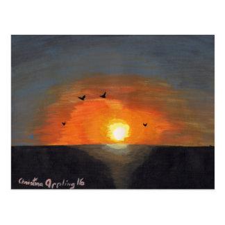 Solnedgång för Stilla hav för vykortakrylmålning Vykort
