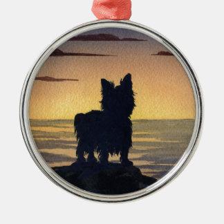 Solnedgång för Yorkshire Terrier Julgransprydnad Metall