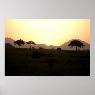 Solnedgång i afrika poster
