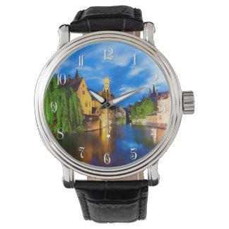 Solnedgång i Bruges. Belgien Armbandsur