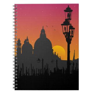 Solnedgång i den Venedig anteckningsboken Spiral Anteckningsböcker