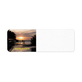 Solnedgång Key West Florida Returadress Etikett