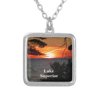 Solnedgång Lake Superior Silverpläterat Halsband