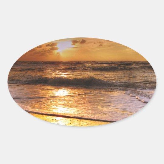 Solnedgång Ovalt Klistermärke